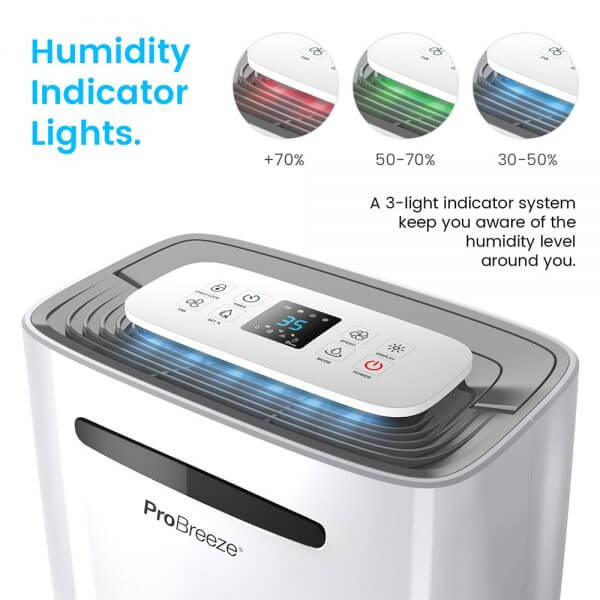 20 litre dehumidifier humidity indicator lights